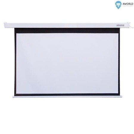 4World Elektryczny Ścienny/Sufitowy Ekran Projekcyjny z Przełącznikiem 244x183 (4:3) Matt White