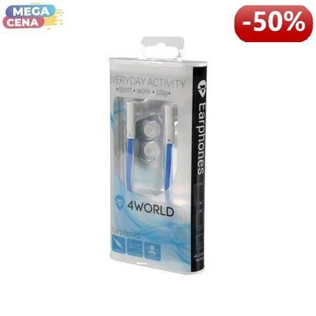 4World Słuchawki douszne DuoColor jack 3.5mm 1.2m niebieski/biały