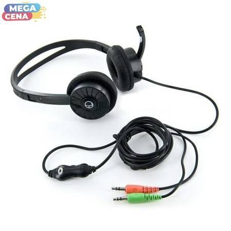 4World Słuchawki nauszne z mikrofonem, czarne