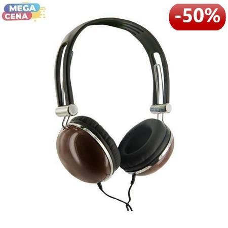 4World Słuchawki stereo pałąk brązowe