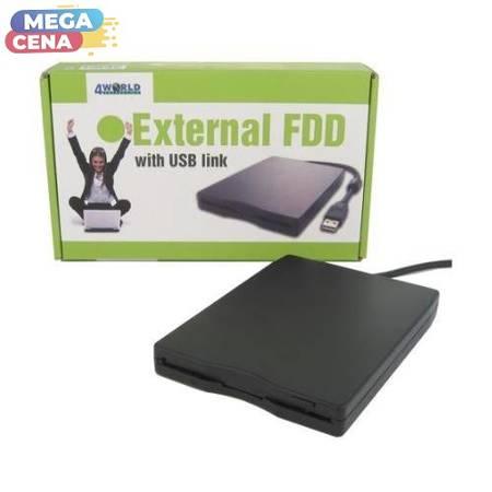 4World Stacja dyskietek FDD, łącze USB, 3.5'', czarna