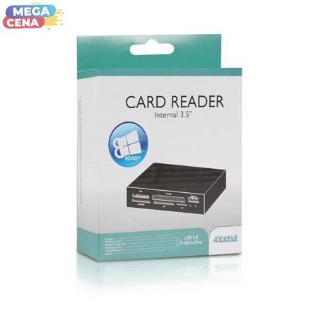 4World Uniwersalny czytnik kart pamięci, USB 2.0, 3.5'', czarny