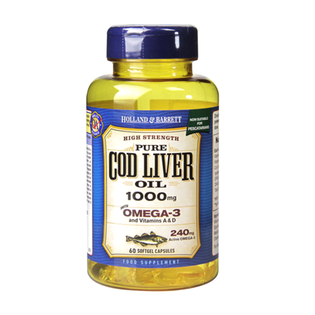 Olej z Wątroby Dorsza 1000 mg dla Pescowegetarian 60 Kapsułek Żelowych