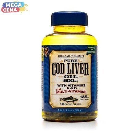 Olej z Wątroby Dorsza z Multiwitaminami 500 mg dla Pescowegetarian 180 Kapsułek Żelowych