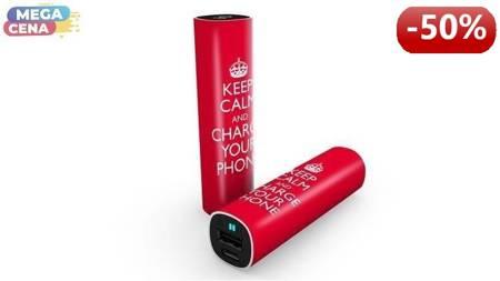 Smartoools Powerbank MC2 Stick Keep calm, 2600 mAh, 2.1A/ 5V, czas ładowania 2.5h, kabel micro USB