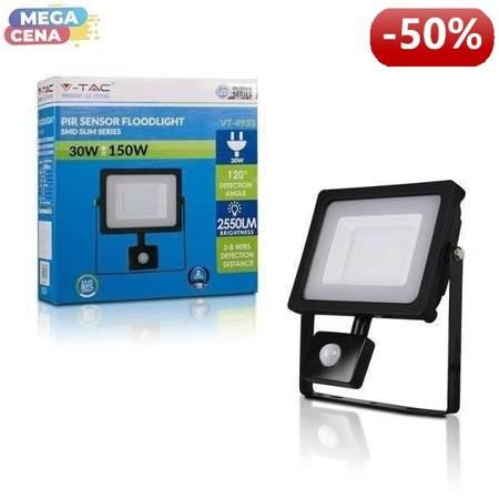 V-TAC Naświetlacz LED SMD Z CZUJNIKIEM RUCHU VT-4933PIRB 30W 6400K 2550lm CZARNY