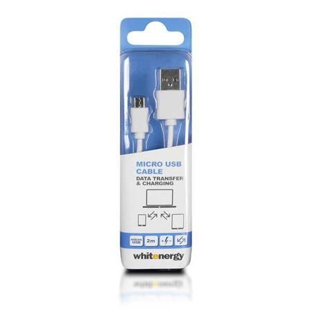 Whitenergy Kabel do przesyłu danych, Micro USB, 200cm, biały