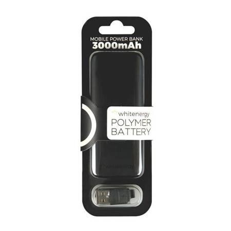 Whitenergy Powerbank, 3000mAh, polimerowa bateria, wskaźnik naładowania, kabel 20cm, czarny