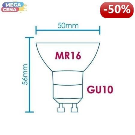 Whitenergy Żarówka LED 3.5W  GU10 MR16 SMD3528 ciepła 230V Halogen / bez szybki