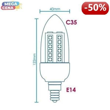 Whitenergy Żarówka LED 3W  E14 C35 SMD3528 ciepła 230V Świeczka / transparentne