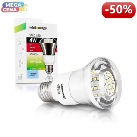 Whitenergy Żarówka LED 4W  E27 R63 SMD3528 zimna 230V Reflektor / transparentne