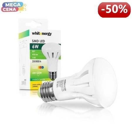 Whitenergy Żarówka LED 6W  E27 R63 SMD3030 ciepła 230V Reflektor / mleczne