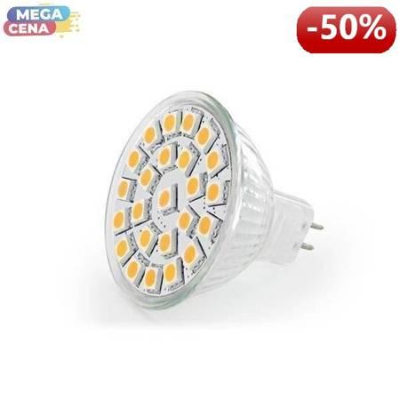 Whitenergy Źródło LED|24xSMD5050|MR16|GU5.3|4.3W|12V|ciepłe białe|bez szybki