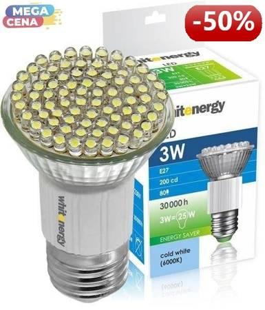 Whitenergy Źródło LED 80xDIP MR16 E27 3W 230V zimne białe bez szybki