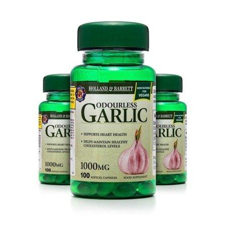 Zestaw 2+1 (Gratis) Bezzapachowy Czosnek 1000 mg 100 Kapsułek Żelowych Produkt Wegański