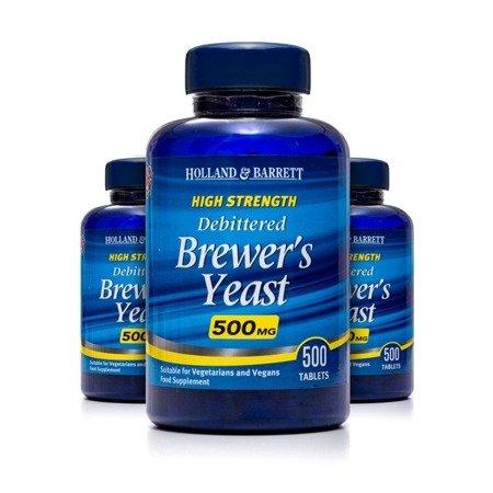Zestaw 2+1 (Gratis) Naturalne Drożdże Piwne 500 mg 500 Tabletek