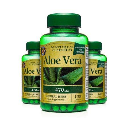 Zestaw Suplementów 2+1 (Gratis) Aloe Vera 470 mg Produkt Wegetariański 100 Kapsułek