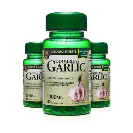 Zestaw Suplementów 2+1 (Gratis) Bezzapachowy Czosnek 1000 mg Produkt Wegański 50 Kapsułek Żelowych