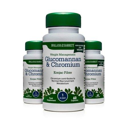 Zestaw Suplementów 2+1 (Gratis) Glukomannan i Chrom Produkt Wegański 60 Kapsułek