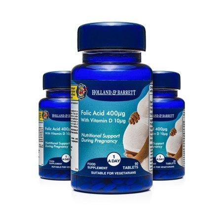 Zestaw Suplementów 2+1 (Gratis) Kwas Foliowy 400 ug z Witaminą D 10 ug 90 Tabletek