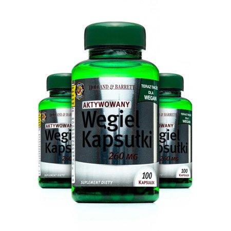 Zestaw Suplementów 2+1 (Gratis) Produkt Wegański Węgiel Aktywny 260mg 100 Kapsułek