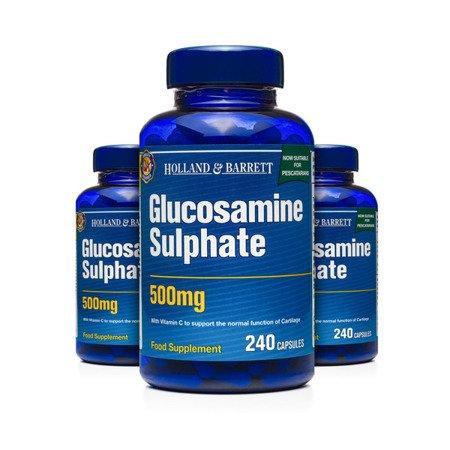 Zestaw Suplementów 2+1 (Gratis) Siarczan Glukozaminy 500 mg dla Pescowegetarian 240 Kapsułek