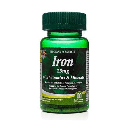 Zestaw Suplementów 2+1 (Gratis) Żelazo 15 mg z Witaminami i Minerałami 100 Kapletek