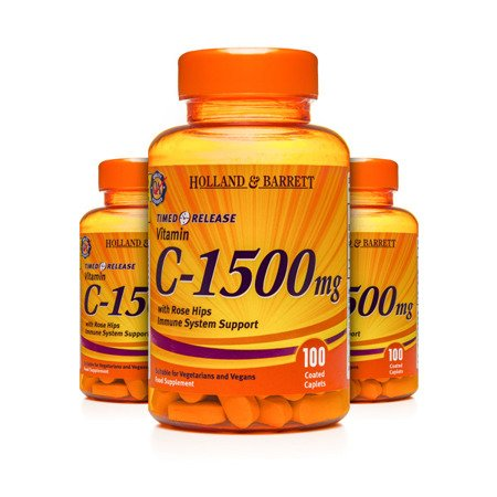 Zestaw Witamin 2+1 (Gratis) Witamina C 1500 mg z Dziką Różą o przedłużonym uwalnianiu 100 Kapletek