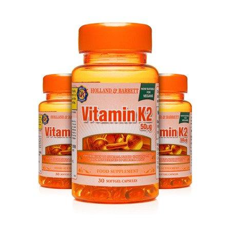 Zestaw Witamin 2+1 (Gratis) Witamina K2 50 ug Produkt Wegański 30 Kapsułek